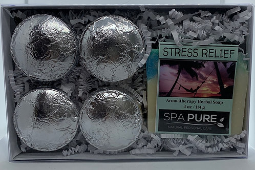 Stress Relief 4-pack Shower Steamers & Aromatherapy Herbal Soap Gift Set