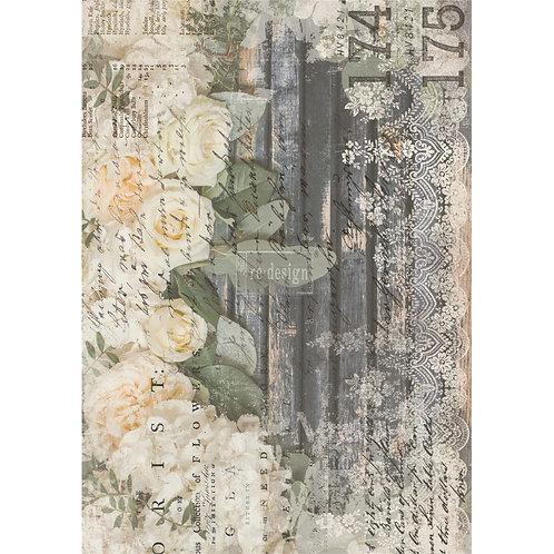 Decor Transfer-White Fleur