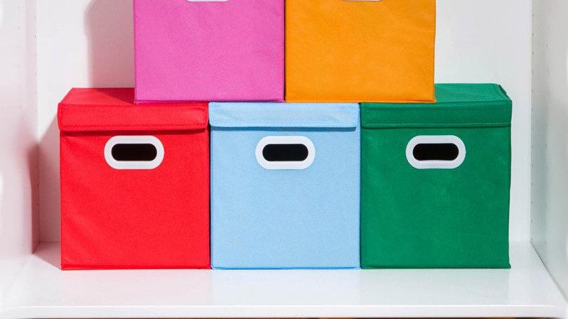 有蓋收納盒 五色選擇 (彷布面料)