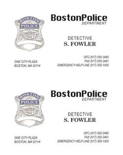 Boston Police Card