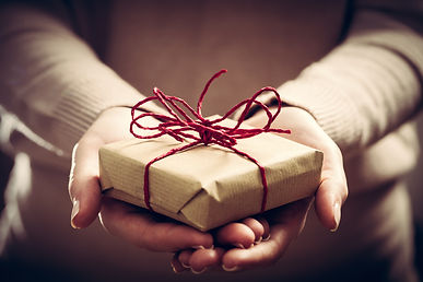 Giving a gift, handmade present wrapped