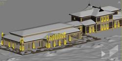 Фасадное освещение частного загородного дома. Визуализация 3dsMax..