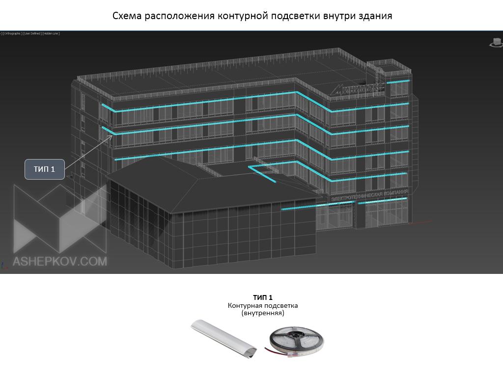 Концептуальное решея ЭТК «Минимаксние  по фасадному освещению здани»