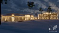 Освещение фасада частного загородного дома. Визуализация 3dsMax..