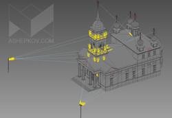 Архитектурное освещение церкви. Визуализация.