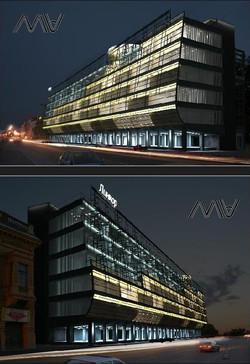 АХО фасада БЦ Линкор. Архитектурное освещение. Визуализация.