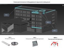 Концептуальное решение  по фасадному освещению здания ЭТК «Минимакс»