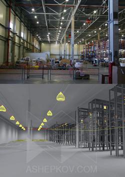 Складское освещение.Освещение складского комплекса.Ashepkov.com.