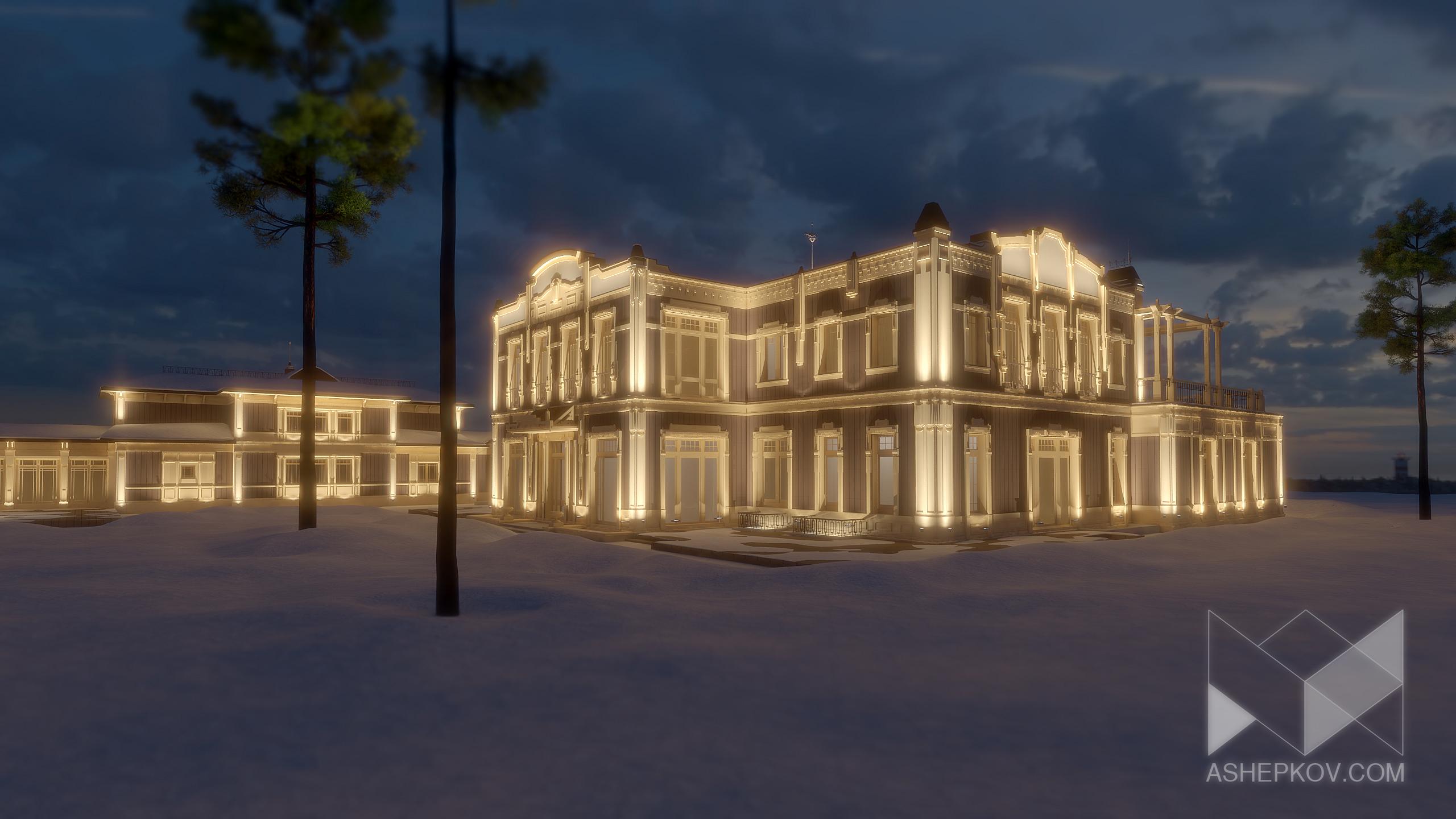 Освещение фасада частного домика.