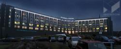 Визуализация. Эскиз (Photoshop) АХО (Архитектурно художественное освещение) фасада больницы.