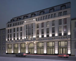 """Визуализация из проекта АХО (архитектурно художественное освещению) фасада гостиницы """"W"""""""