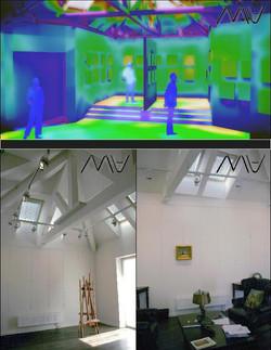Освещение в частной картинной галерее. Расчет освещенности. Визуализация. Фотографии реализации.