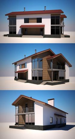 Двухквартирный загородный дом.