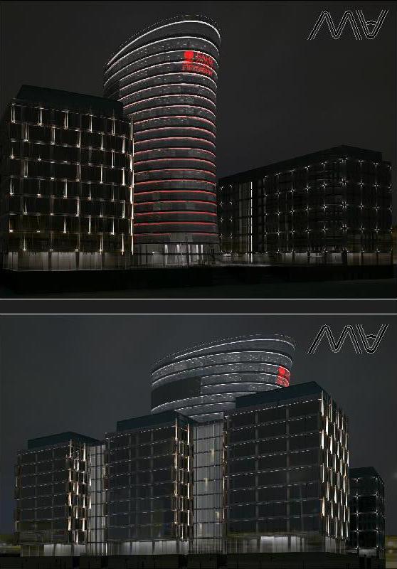 АХП фасадов  зданий делового ценра