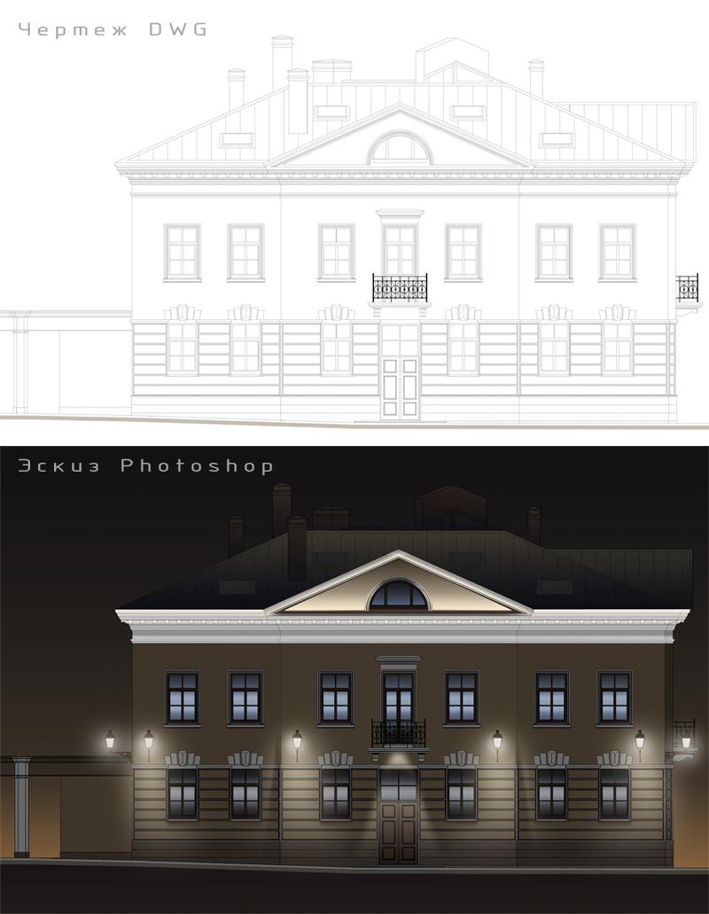 Эскиз на основе чертежа фасада