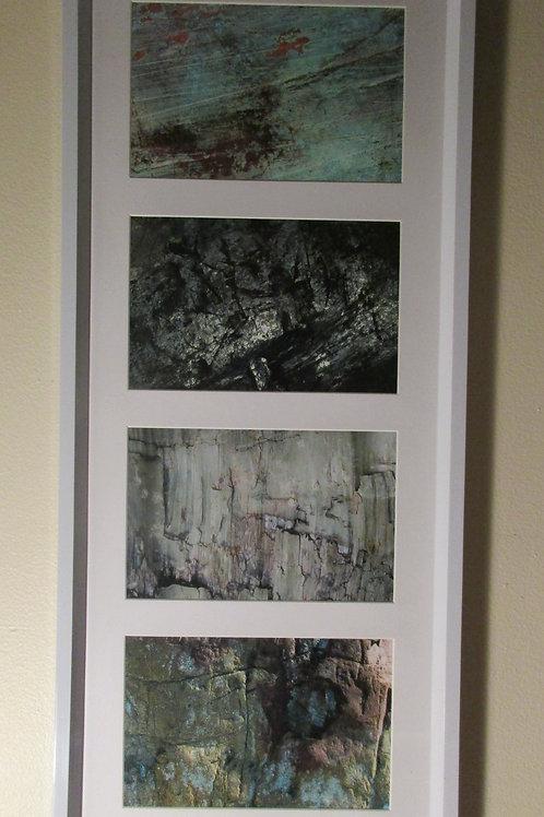 Cadre 4 photos numérotées signées format 4 X 6, cadre plastique blanc, fond plei
