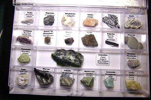 Boite de 21 minéraux, nord-est de l'amérique du nord, essentiellement du Québec