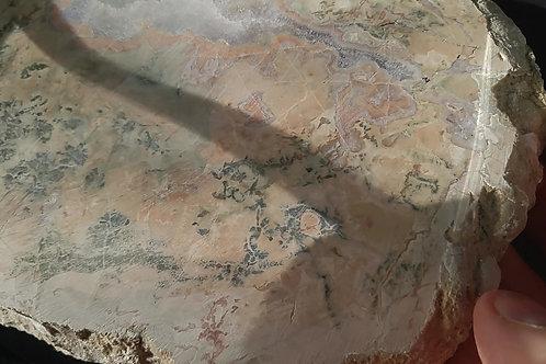 Agate avec améthyste (Tranche polie), Mont Lyall, Gaspésie