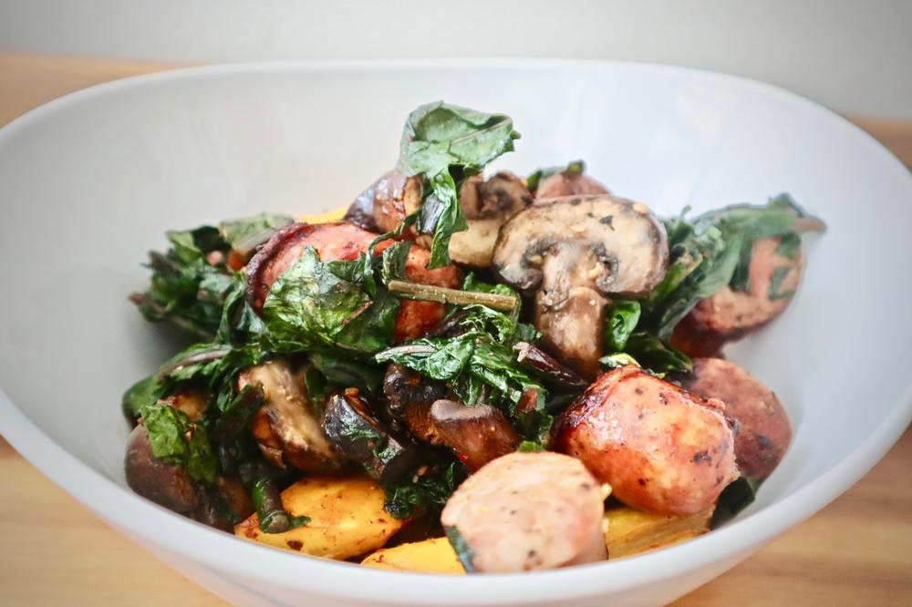 pork sausage with mushrooms