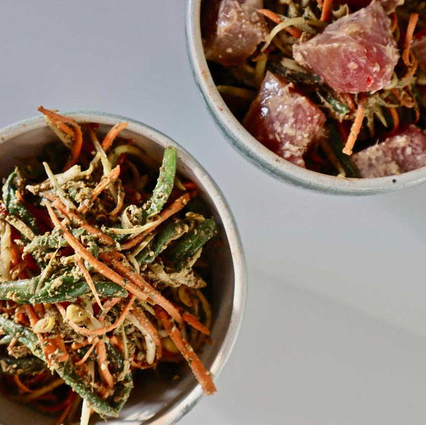 Viome, gut intelligence test, beautiful salad, ahi poke