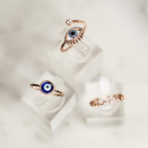 Traditional glass Mati Evil Eye Ring