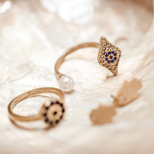 Evil Eye Protection Mati Pearl Ring
