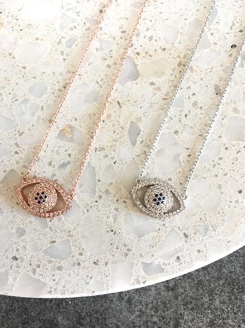 Crystal Pave Set Mati Eye Necklace