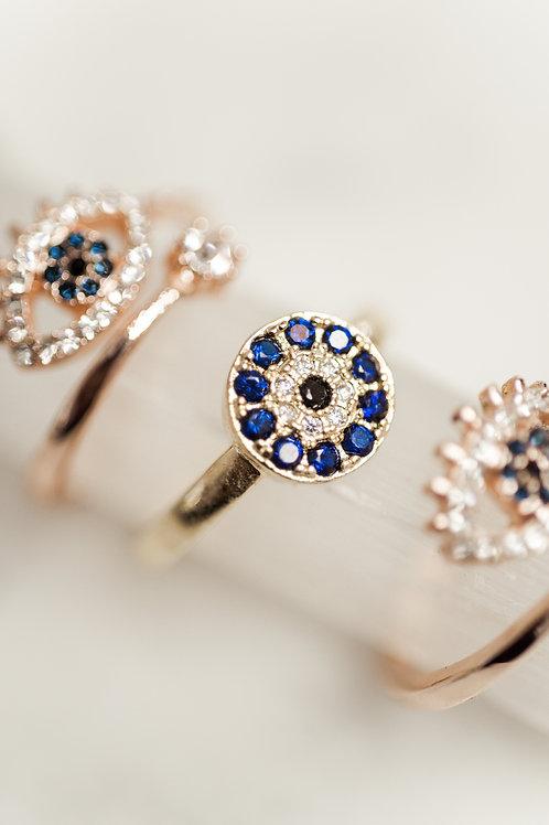 Evil Eye Protection Mati Blue Ring