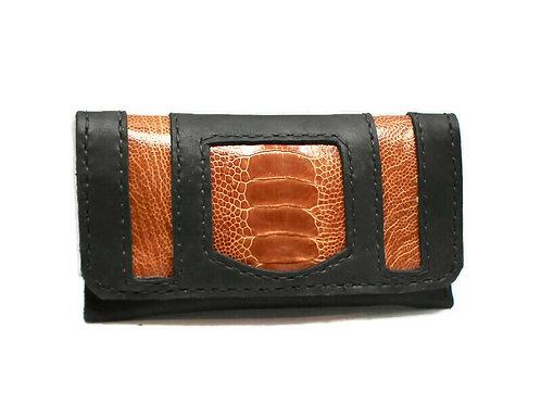 Cognac Ostrich leather tobacco pouch