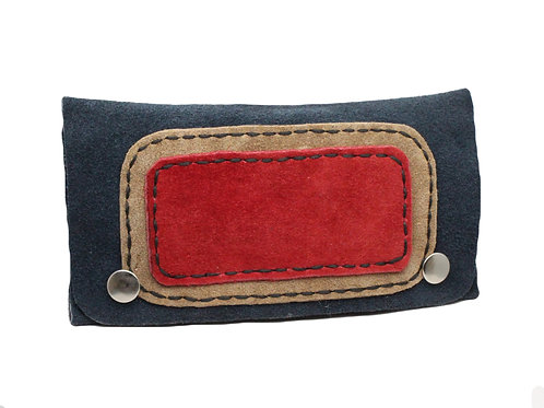 Blue suede tobacco pouch