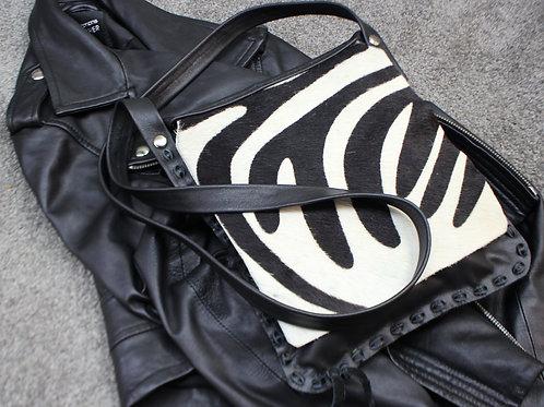 Black and white stripped fur bag