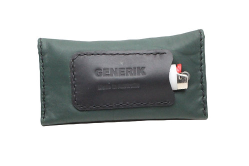 Green leather tobacco pouch