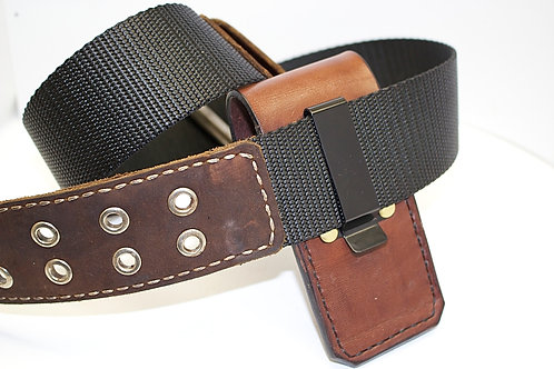 LEATHER SHEATH WITH METAL BELT CLIP