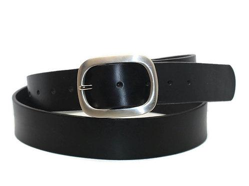 38mm Black leather belt Large