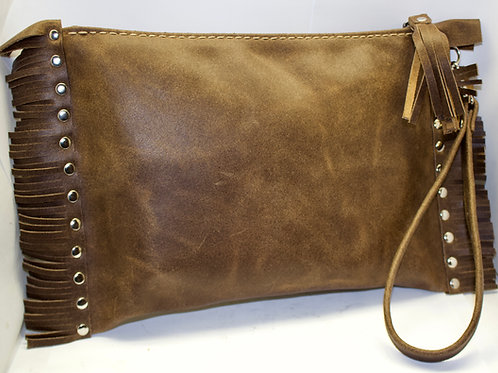 Rustic distressed leather clutch tote