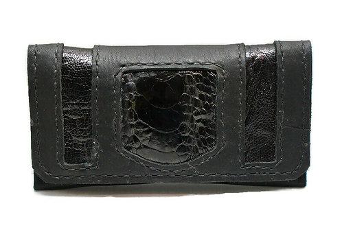 BlackOstrich leather tobacco pouch