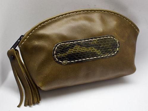 Khaki purse snake print