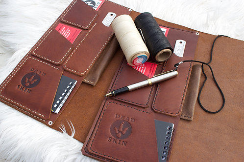 Leather Logbook cover Jungle-cognac