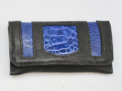 Electric Blue Ostrich leather tobacco pouch