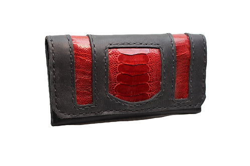 Ruby Red Ostrich leather tobacco pouch