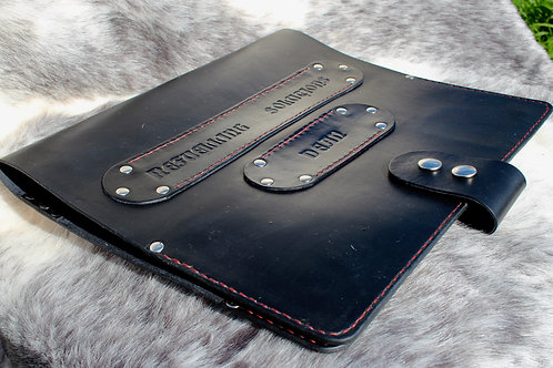 Black leather logbook cover