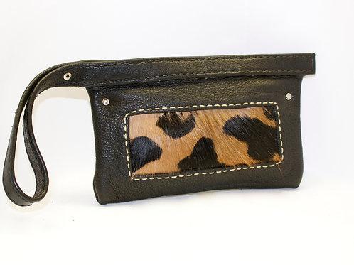 Black leopard print purse