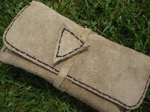 Suede wrap tobacco pouch