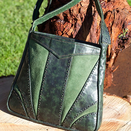 Retro green leather and suede bag