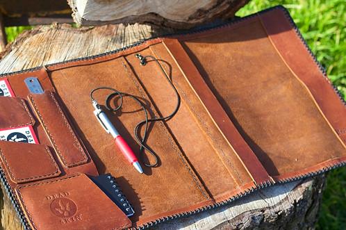 leather logbook cover jungle cognac espresso
