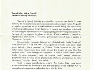 List z błogosławieństwem Biskupa Ryszarda Kasyny dla wszystkich uczestników rekolekcji