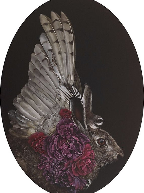 Matutine - 500 x 700mm oval. From the show 'An Aviary Of Alchemy'.  SOLD