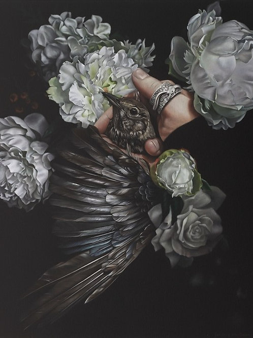 Saving Grace - 600 x 700mm. From the show 'An Aviary Of Alchemy'.  SOLD
