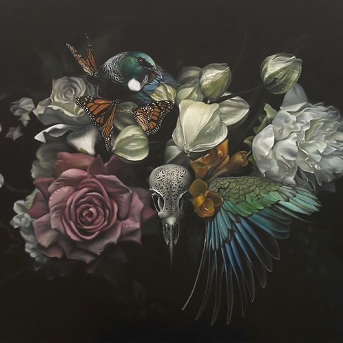 Metanoia - 1000 x 900mm . From the show 'An Aviary Of Alchemy'.  SOLD