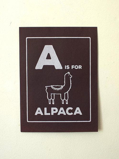 A is for Alpaca Screenprint